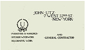 Business card of John Utz (family possession)