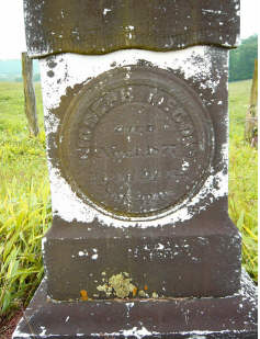 Tombstone of Joseph McCoy who died 1 Nov 1877, age 92. Digital photograph by Carol P. McCoy