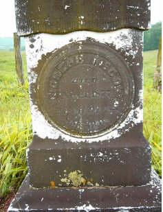 Tombstone of Joseph McCoy who died 1 Nov 1877, age 92. Digital photograph by Carol P. McCoy